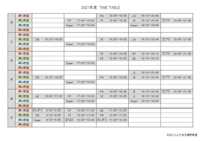 2021年度 Time  Table